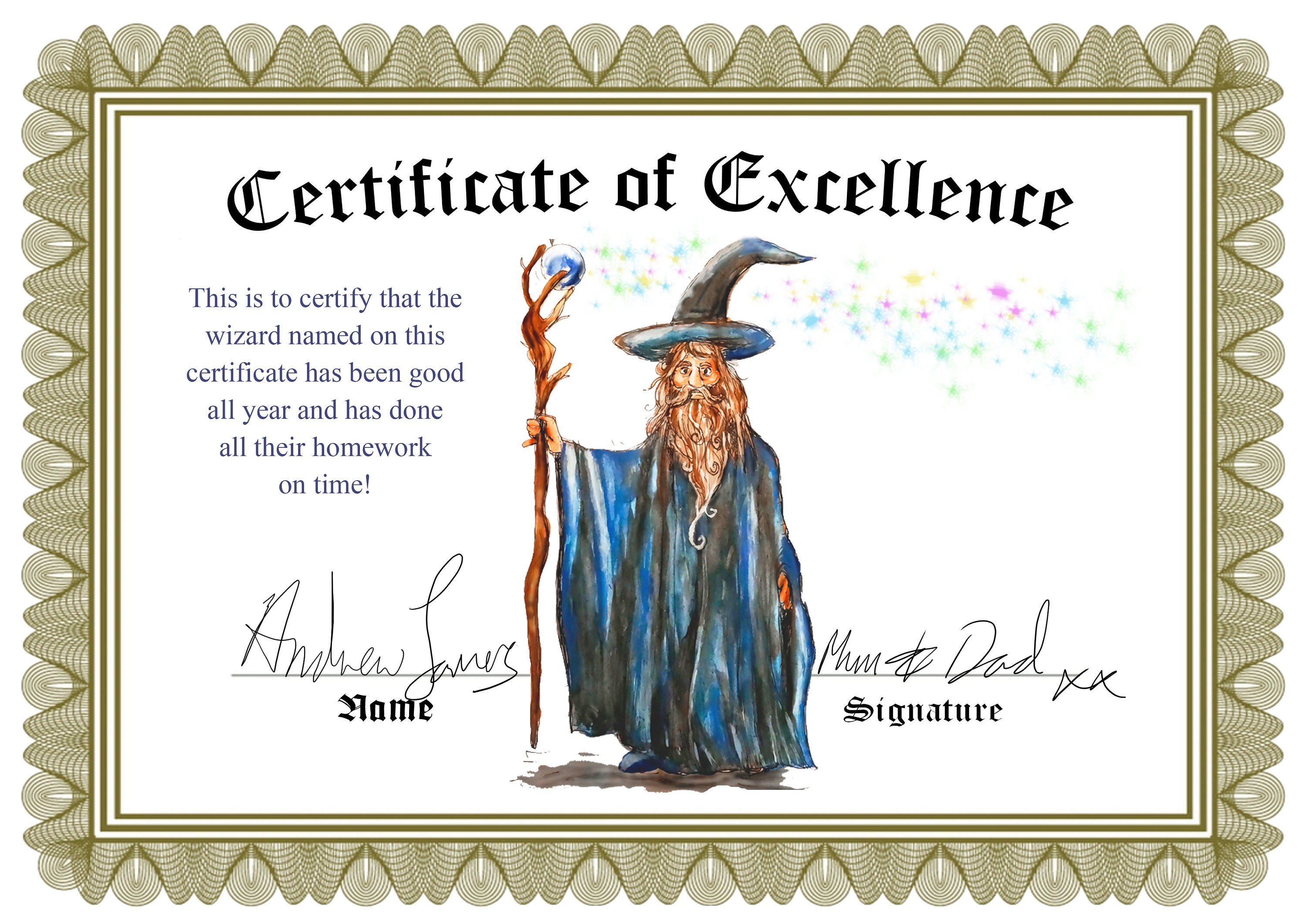 Cool Wizard Magic Themed Certificates Of Excellence Design Etsy