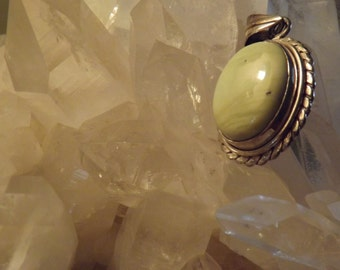 Lemon Chrysoprase Sterling Silver Pendant