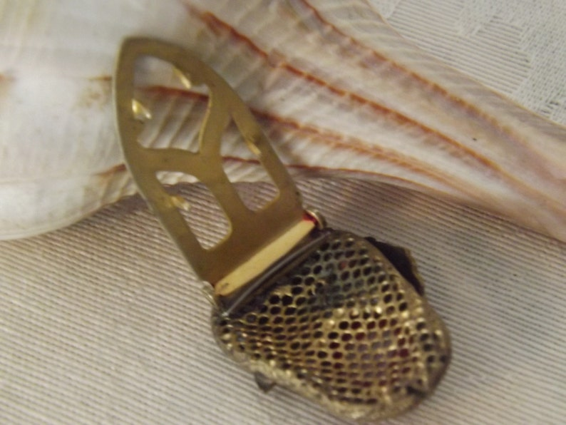 Estate Leaf and Red Cabochon Gold Tone PinShoe PinPendant