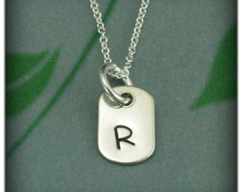 Mini Dog tag Pendant~Personalized Silver Dogtag Pendant~Hand Stamped Silver Pendant~Small Monogram Dog tag~Custom Monogram Jewelry~Initial