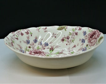 Johnson  Brothers Rose Chintz Blue coupe cereal bowl  little scale  5,91 Inches Unused