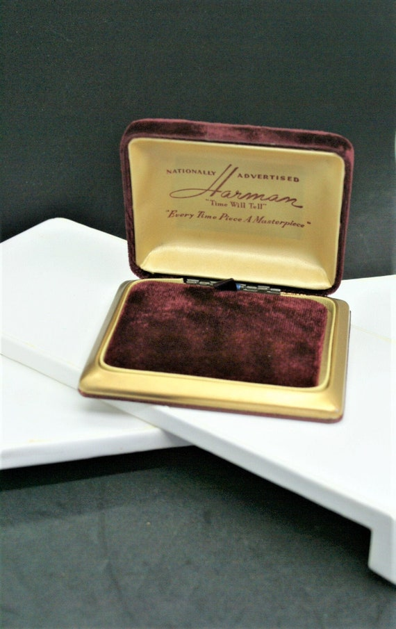 Harmam Watch Box / Vintage Burgundy Velvet Origina
