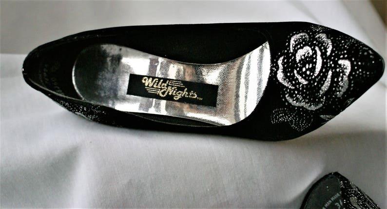 52717aa9957 SALE Vintage Black   Silver High Heels  4 Inch Heels Pointed