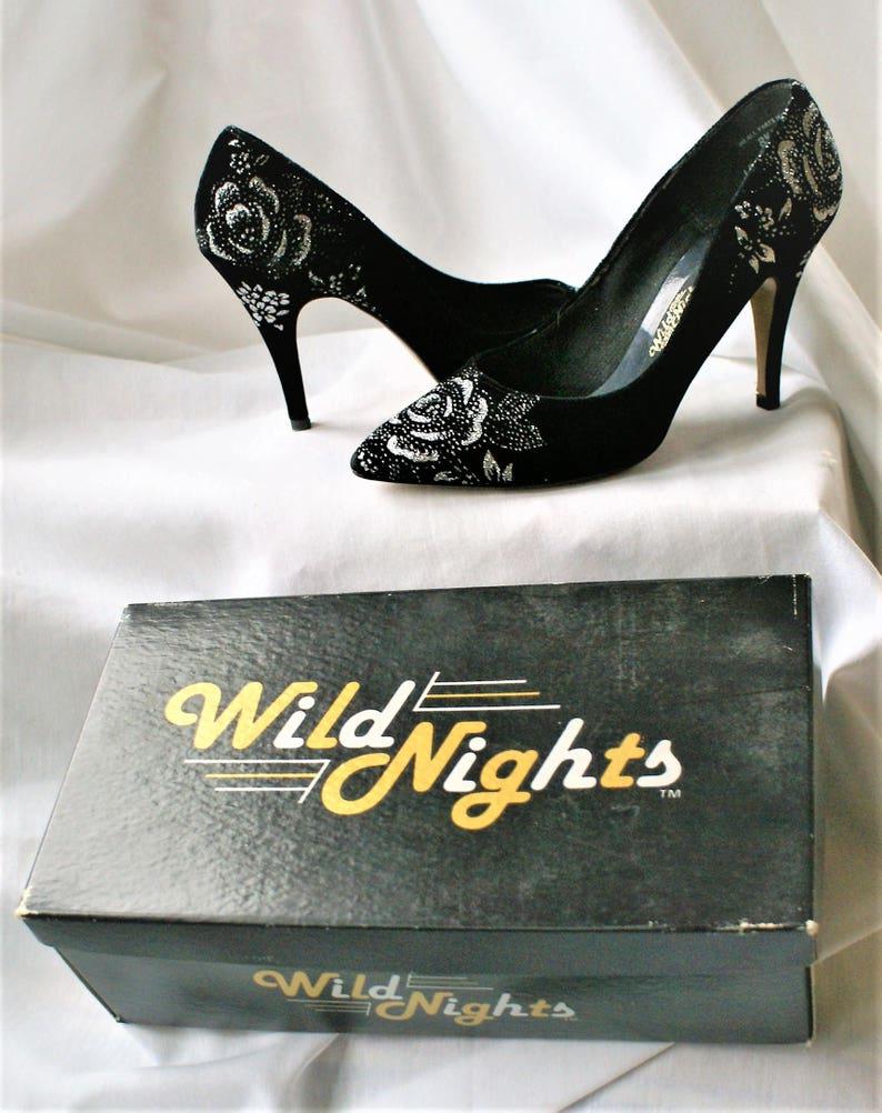 ede4b8159c7 SALE Vintage Black   Silver High Heels  4 Inch Heels Pointed