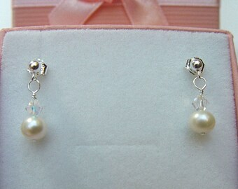 Sterling Silver stud setting small Earrings with Swarovski AB Crystals & Freshwater pearls Boxed