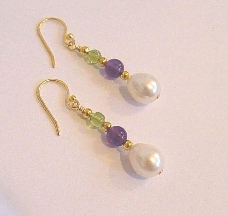 Suffragette Earrings 24kt yellow Vermeil Gold Hooks Amethyst Earrings Peridot gemstones 11mm pear drop  Freshwater Pearls Suffragists