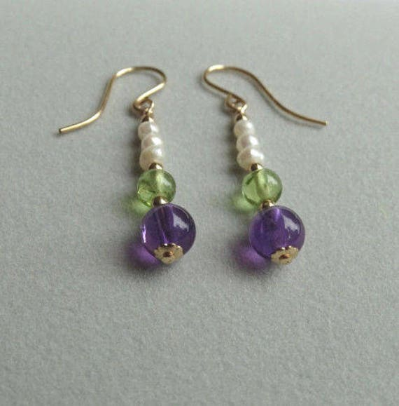 Suffragette Earrings Pearl Amethyst Peridot Gemstone Gold Vermeil Lge leverback