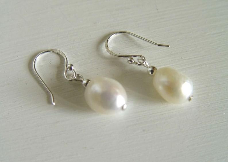 White freshwater Pearl Earrings cultured Nugget baroque Pearl drop Earrings Sterling Silver ball hooks Bridal Wedding JUNE BIRTHDAY Pouch UK