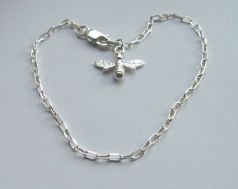 """Sterling Silver Chain Bracelet with a Sterling Silver BEE Charm adjustable to 7.5"""""""