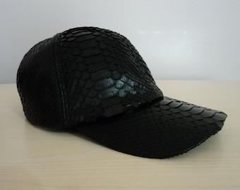 Black Genuine Python Snake Skin Leather Hat Cap Adjustable Baseball Snakeskin  Natural Real 9f98aadcd1c6