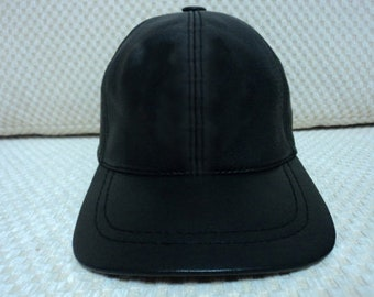 1d87c4b731f 2 Black Leather Hat Cap Adjustable Soft Real Lambskin Baseball with Free  Logo Audi Mercedes Opel Porsche Ferrari Harley Davidson Honda Bmw