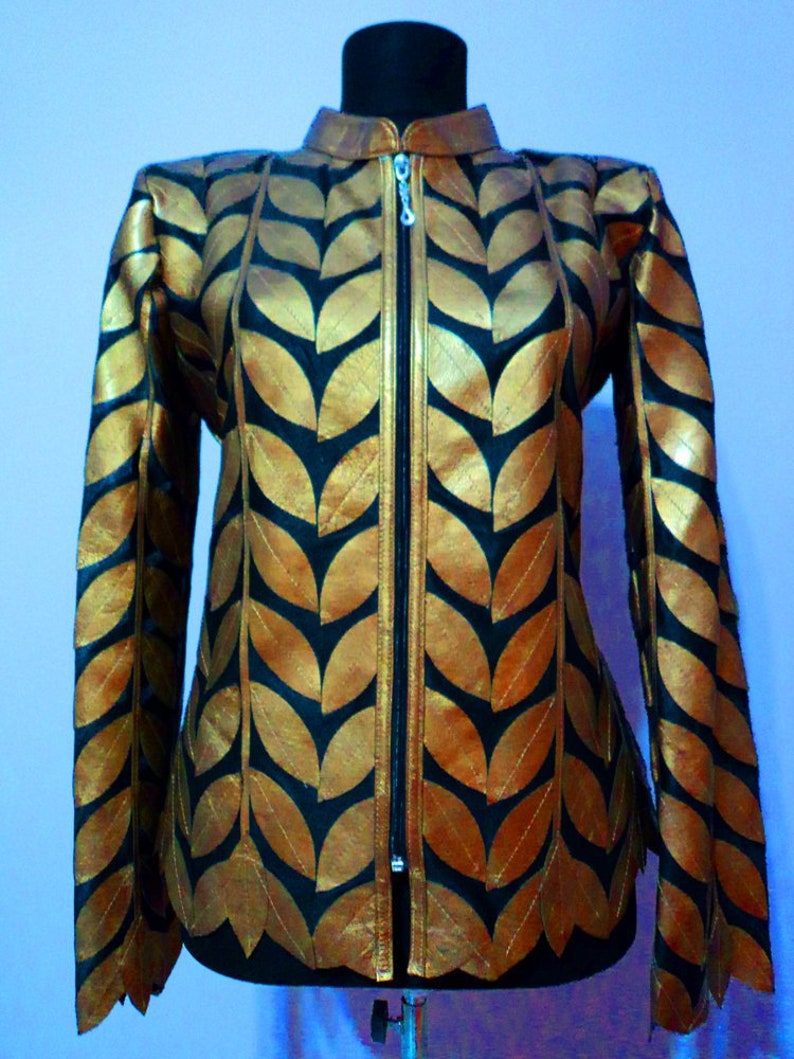 2eeacf43d0a Plus Size Gold Leather Leaf Jacket for Women All Colors Sizes