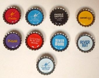 Canoe, Kayak, On the River, Bottle Cap Magnets
