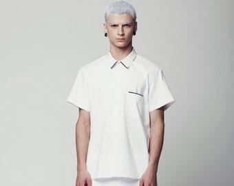 Mens Shirt, White Shirt for Men, Mens White Shirt, White Dress Shirt, Shirts for Men, Designer Shirts for Men, Mens Short Sleeve Shirt, slim