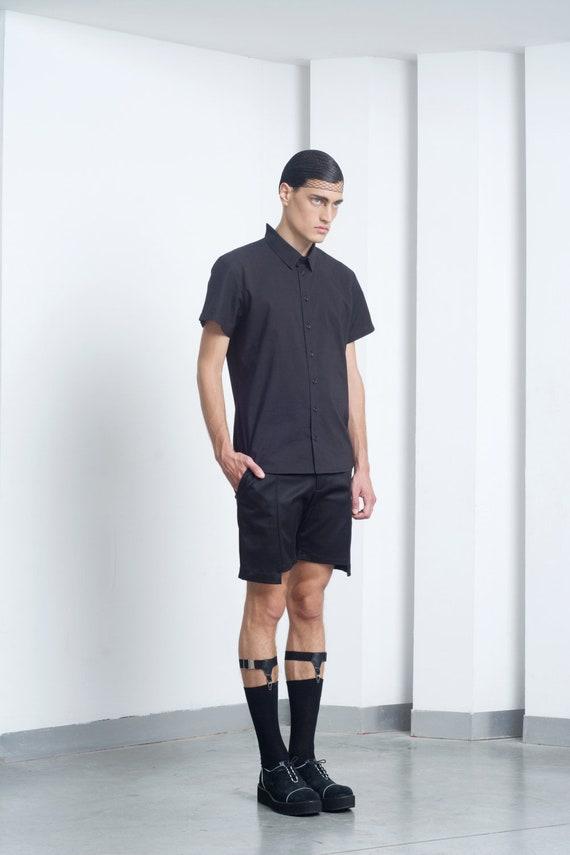 Mens Shirt Mens Black Short Sleeve Dress Shirt Cut Out Collar Etsy
