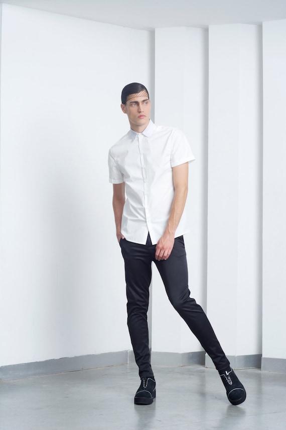 Mens shirt Mens white short sleeve dress shirt button up shirt   Etsy