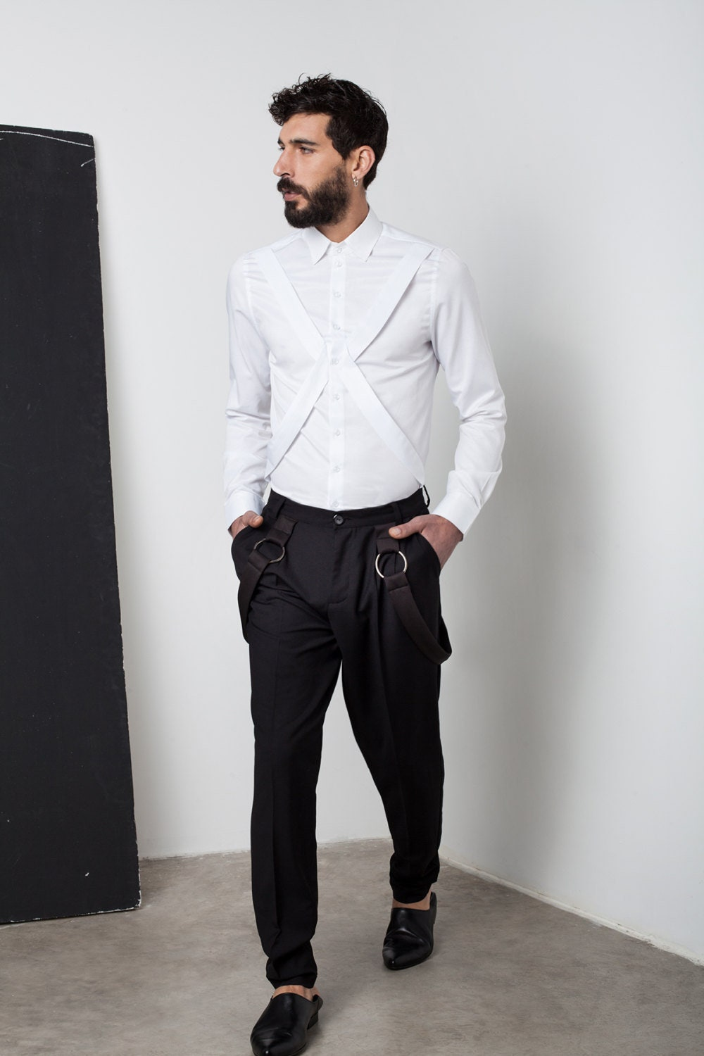 Mens White Shirt Mens Dress Shirt Harness Shirt Mens Shirt Etsy