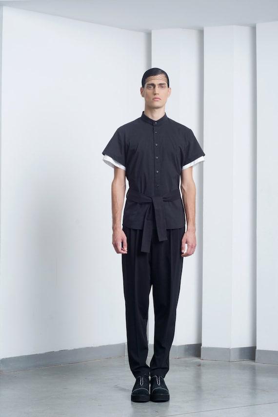 Mens Shirt Mens Black Shirt Chinese Collar Dress Shirt Button Etsy