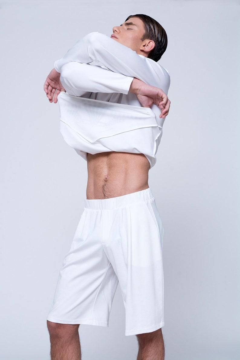 Korte Witte Broek Heren.Heren Shorts Mens Witte Broek Mens Bermuda Korte Broek Mens Etsy