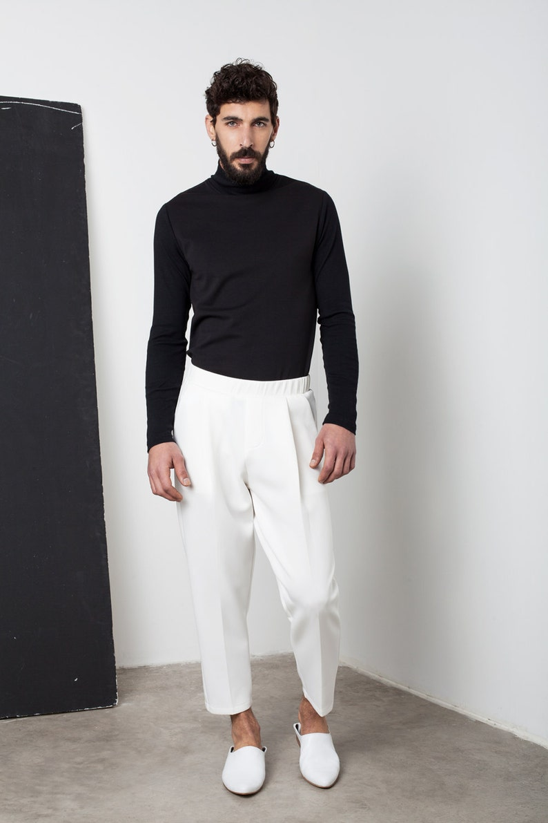 Mens clothing Mens harem trousers Mens loose trousers Mens trousers Mens white trousers Minimalist trousres Mens tailored trousers