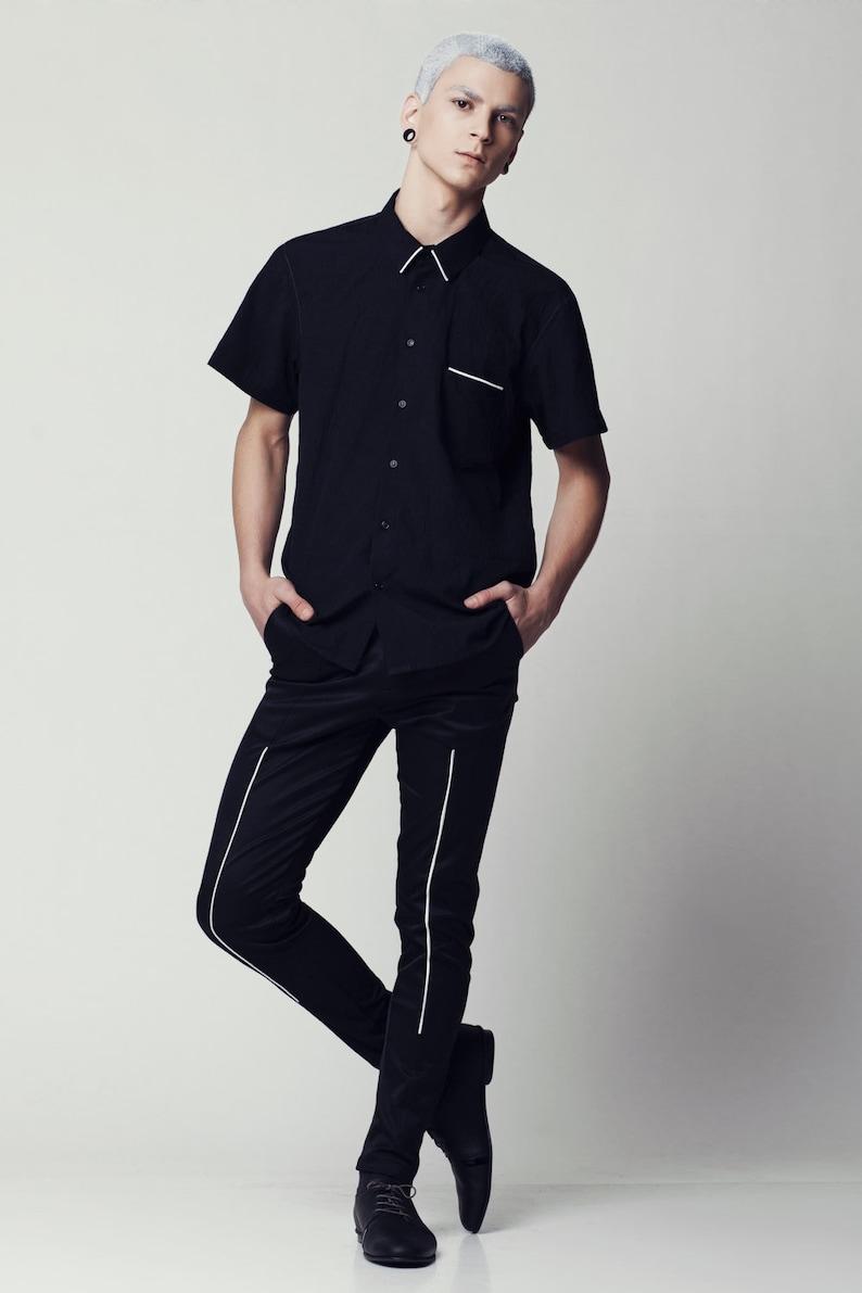 54c6bdbfb Mens Shirt Black shirt Short Sleeve Button Down Button up Slim | Etsy