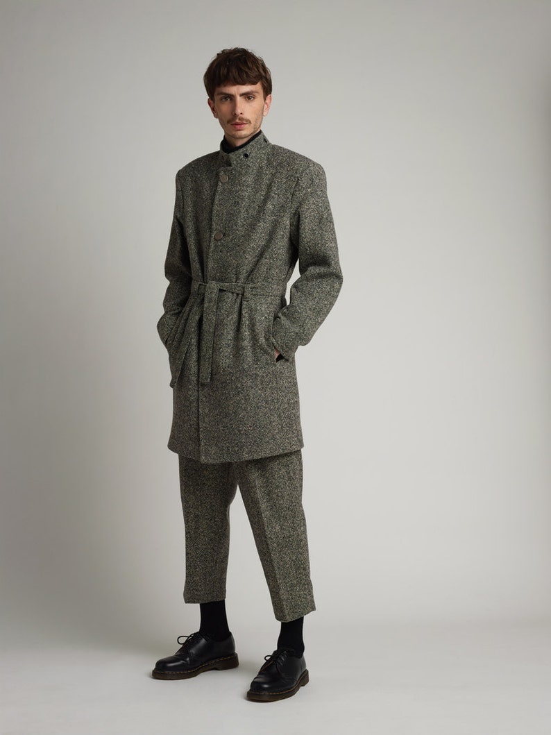 Mens Coat Mens Wool Coat Mens Gray Coat Mens Long Coat Mens Etsy