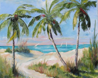 """Beach palm trees sailboats pathway to the beach. 14x14"""" unframed  beautiful tropical colors painted in oil on stretched canvas."""