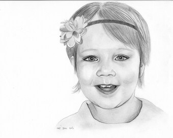 Custom Pencil Portrait from photograph, 8x10, graphite, children, gift