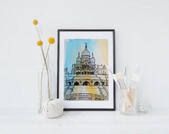 Hand-drawn, Sacre-Coeur, Paris, archival quality art print, travel illustration, watercolour, pen and ink,