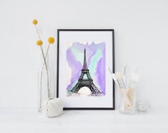 Hand-drawn, Paris, Eiffle Tower, archival quality art print, travel illustration, watercolour, pen and ink