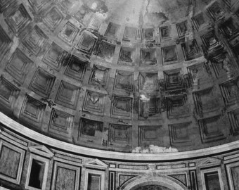 Vintage-Style or Black and White Photography, Rome, Pantheon, Architecture, Print, Decor, Gift under 50