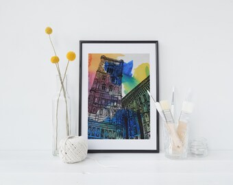 Multicolor Watercolour and Ink Painting of Campanile Tower, Duomo in Florence, Blue, Orange, Yellow, Green, Purple
