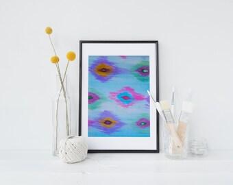 Bright, Ikat, Multicolour Watercolour Painting, Print, Purple, Pink, Blue, Orange, Green