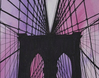 Brooklyn Bridge, New York City, travel illustration, archival quality print, 8x10, watercolour, pen and ink, hand drawn