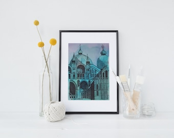 Hand-drawn, Saint Mark's Basilica, Venice, archival quality art print, travel illustration, watercolour, pen and ink
