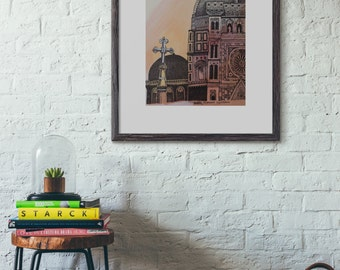 Hand-drawn, Duomo, Florence, travel illustration, archival quality art print, watercolour, pen and ink, hand drawn, 8x10