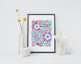 Hand-drawn, Bright, Moroccan Style, Multicolour Watercolour Painting, Archival Quality Art Print, Purple, Pink, Blue, Orange, Green