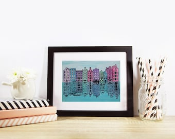 Amsterdam, architectural travel illustration, archival quality print, wall art, watercolour, pen and ink