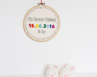 Personalised Rainbow New Baby Hand Embroidery Hoop Art 6 Inch