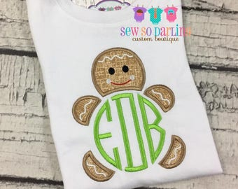 Gingerbread boy Christmas Outfit - Baby boy Christmas Outfit - Monogram Christmas Shirt - Boy Gingerbread Shirt - Boy Christmas outfit