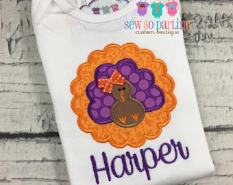 Baby Girl turkey shirt - Baby Girl Thanksgiving Outfit - Baby Thanksgiving Outfit - Thanksgiving Shirt - Personalized Thanksgiving Clothes