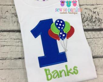 Baby Boy Birthday Outfit - 1st Birthday Balloon Birthday Outfit - 1st Birthday Shirt - Blue Red Green birthday shirt - First Birthday boy