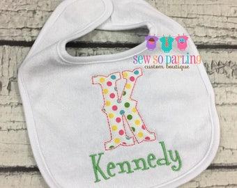 Personalized Baby Girl Bib - Girly Baby Bib - monogrammed bib - baby gift - baby shower gift - newborn girl bib - newborn girl gift