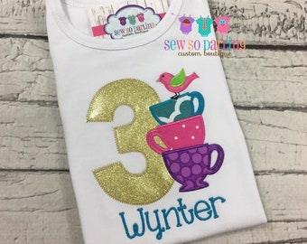 Girl 3rd Birthday Teacup Outfit - 1st Birthday Tea Party Birthday Outfit - Tea Cup Birthday Outfit - Gold Pink Purple Teal Tea Party ANY AGE
