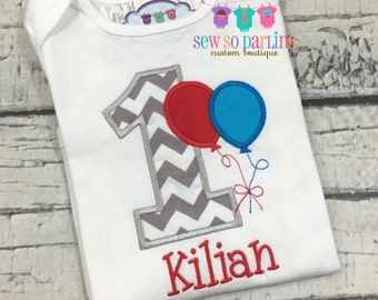 first birthday outfit boy - 1st birthday boy outfit - first birthday shirt boy - birthday balloon shirt - boy birthday outfit
