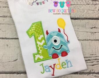 Blue Monster Birthday Shirt - 1st Birthday Monster Shirt - Baby Boy Monster Birthday Outfit - Birthday shirt - 2nd birthday monster shirt