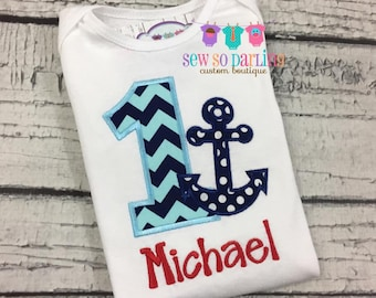 Baby Boy Nautical Birthday Outfit - 1st Birthday Anchor Birthday Outfit - 1st Birthday Outfit - Boy First Birthday outfit - blue and red