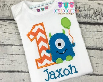 1st Birthday Monster Shirt - Green and Blue Monster Birthday Shirt - Baby Boy Monster Birthday Outfit - Monster Birthday shirt for boys