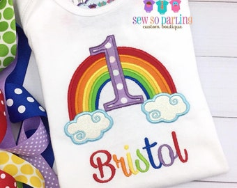 1st Birthday Girl Rainbow Outfit - Baby Girl Rainbow Birthday Outfit - Rainbow Birthday Shirt- 1st Birthday Outfit - ANY AGE
