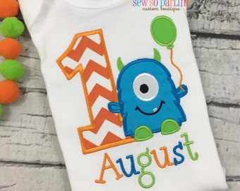 1st Birthday Monster Shirt - Green and Blue Monster Birthday Shirt - Baby Boy Monster Birthday Outfit - Birthday shirt - ANY AGE - 2nd 3rd